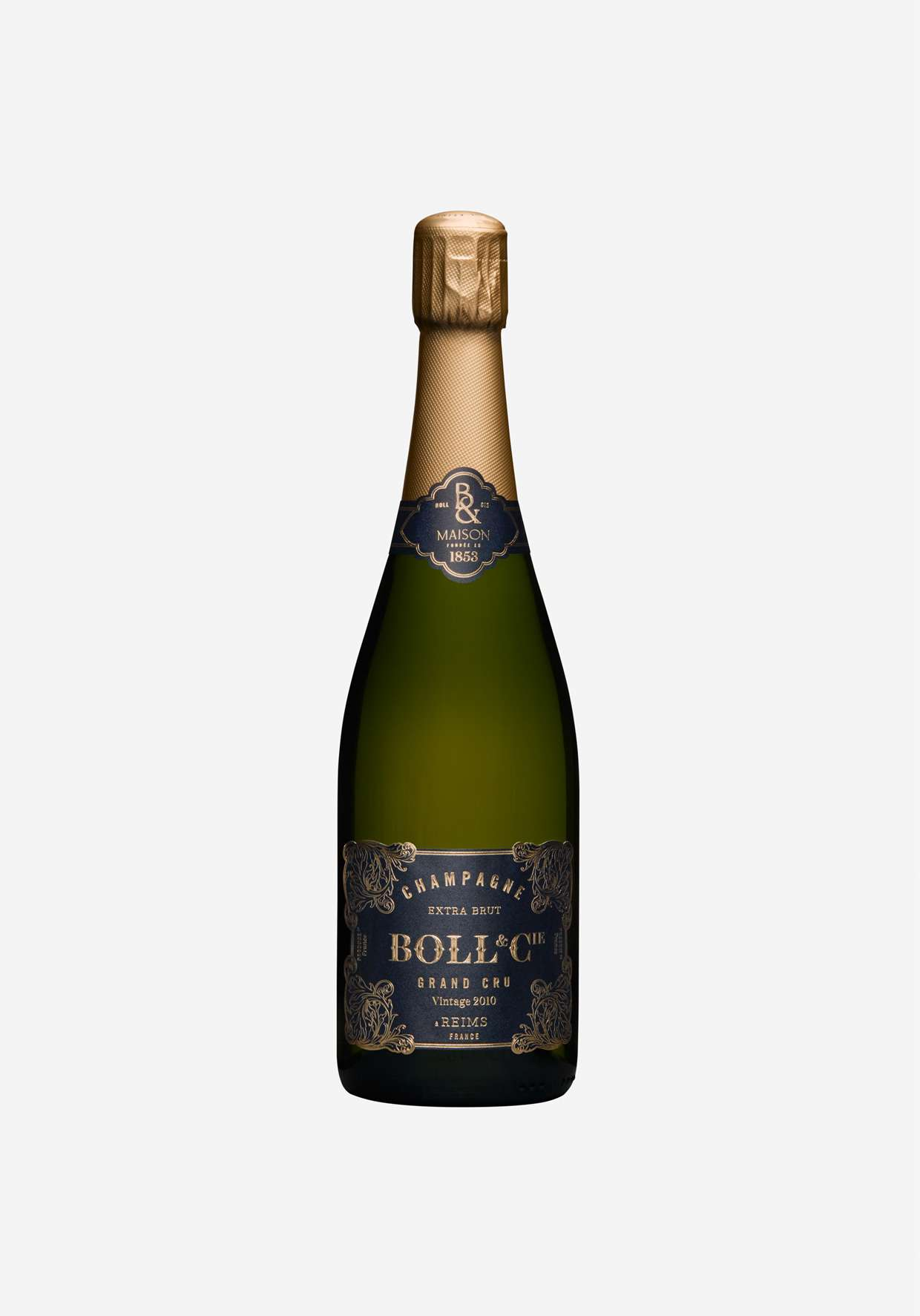 A close-up of a bottle of Grand Cru Champagne from Boll et Cie